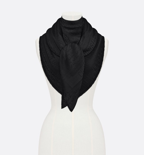 Click here to enlarge the product picture Black New Dior Oblique Wool-Blend Jacquard Shawl