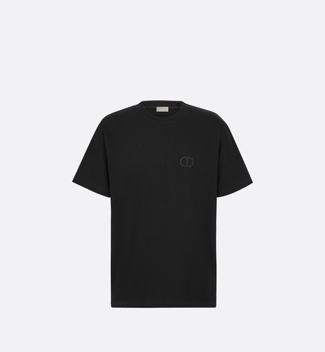 Black Compact Cotton T-Shirt with 'CD Icon' aria_frontView
