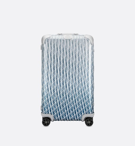 Gradient Blue DIOR and RIMOWA Trunk Suitcase in Dior Oblique Aluminum aria_frontView
