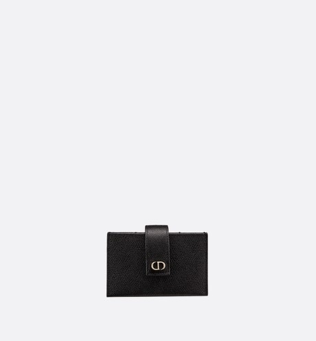 Small Black 30 Montaigne Calfskin 5-Pocket Card Holder aria_frontView