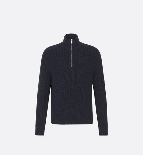 Navy Blue Half-Zip Ribbed Knit Wool Sweater front view