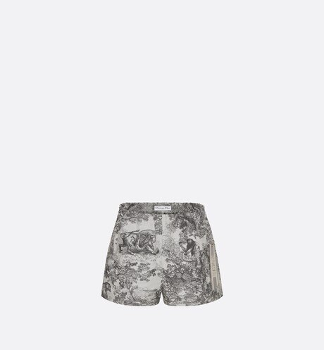Gray Toile de Jouy Technical Taffeta Shorts aria_frontView