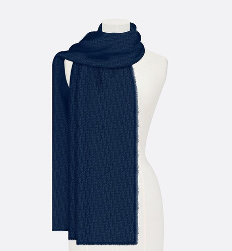 Click here to enlarge the product picture Navy Classic Dior Oblique Cashmere Stole