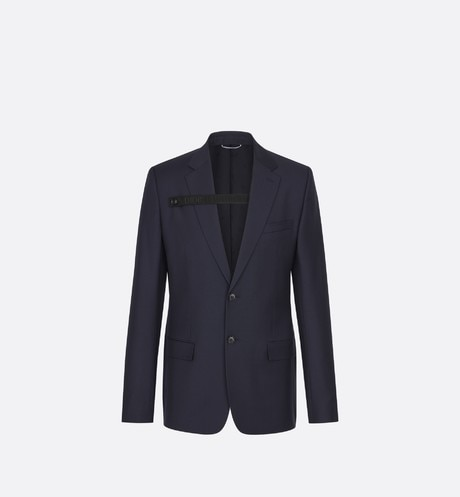 Navy Virgin Wool Jacket with Button Strap front view
