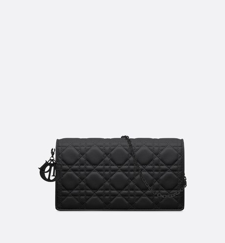 Lady Dior clutch in ultra-matte calfskin Black front view