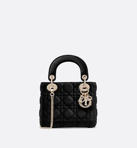 Mini Lady Dior bag Black front view
