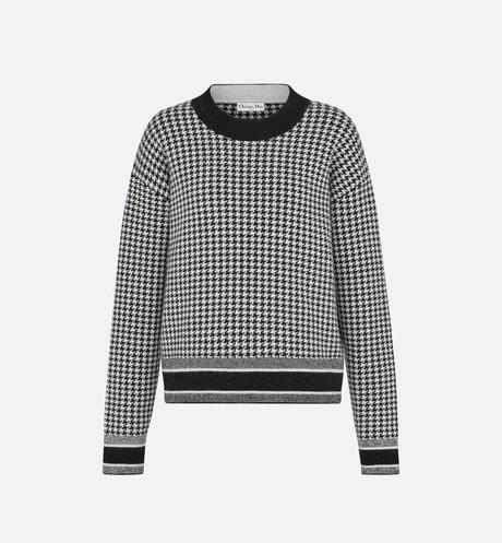 30 Montaigne Stretch Cashmere-Jacquard Blend Houndstooth Sweater aria_frontView