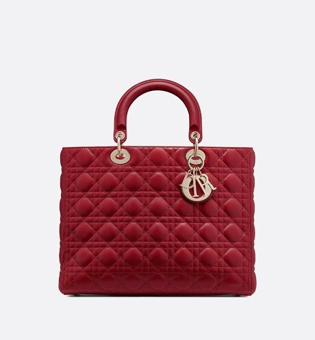 Click here to enlarge the product picture Large Cherry Lady Dior Lambskin Bag