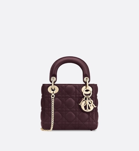 Mini Lady Dior lambskin bag aria_frontView