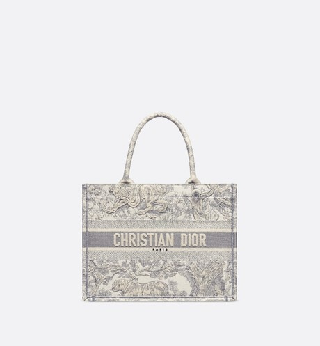 Small Gray Dior Book Tote with Dioriviera Toile de Jouy Embroidery aria_frontView