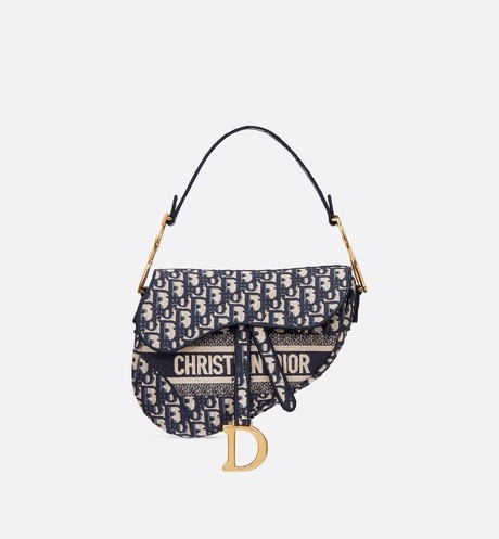 Blue Saddle Original Dior Oblique Embroidered Canvas Bag