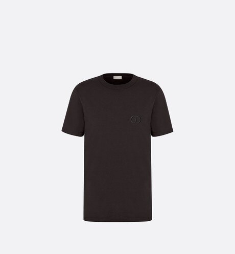 Black Cotton T-Shirt with 'CD Icon' Logo