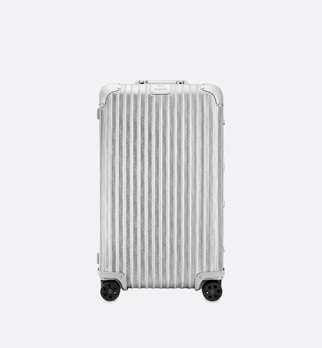 Gray DIOR and RIMOWA Trunk Suitcase in Dior Oblique Aluminum front view