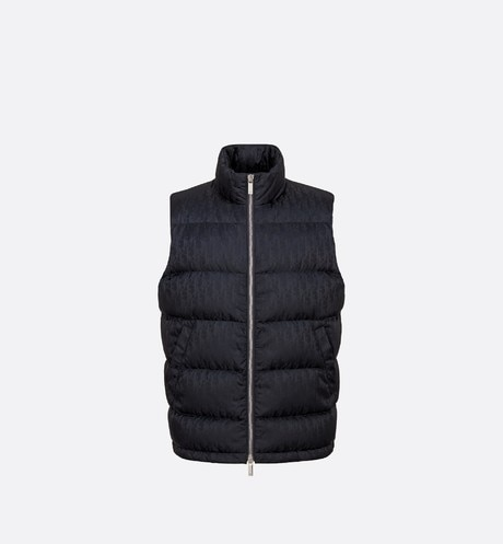 Navy Blue Dior Oblique Jacquard Down Sleeveless Puffer Vest
