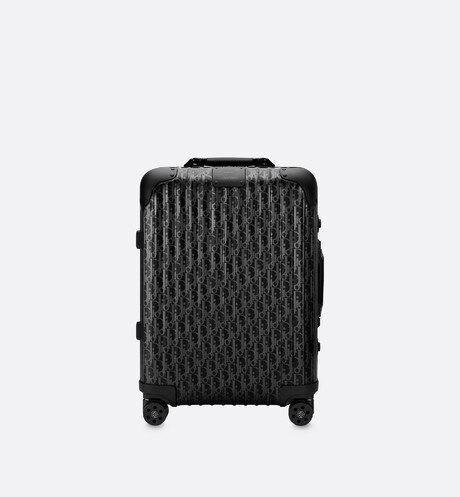 Black DIOR and RIMOWA Cabin Suitcase in Dior Oblique Aluminum front view