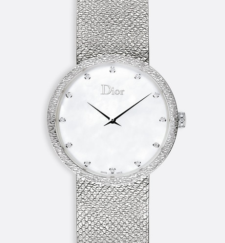 La D de Dior Satine ? 36 mm, mouvement quartz