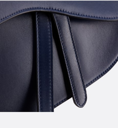 Saddle bag in blue calfskin detailed view 2