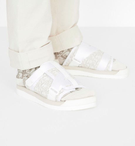 Beige Sandal in Dior Oblique Jacquard worn view cropped