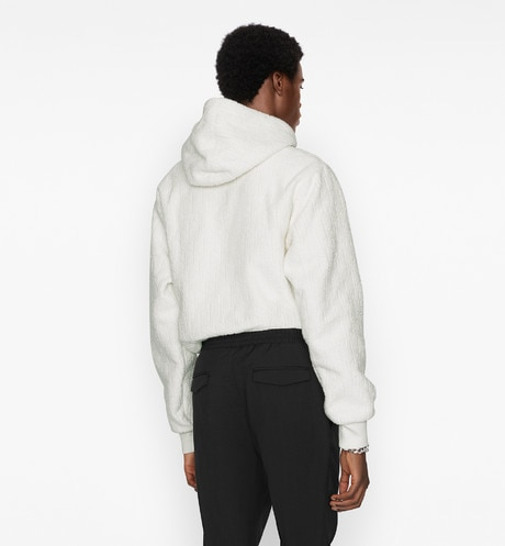 Oversized Hooded Sweatshirt with Dior Oblique Motif Worn view cropped Open gallery