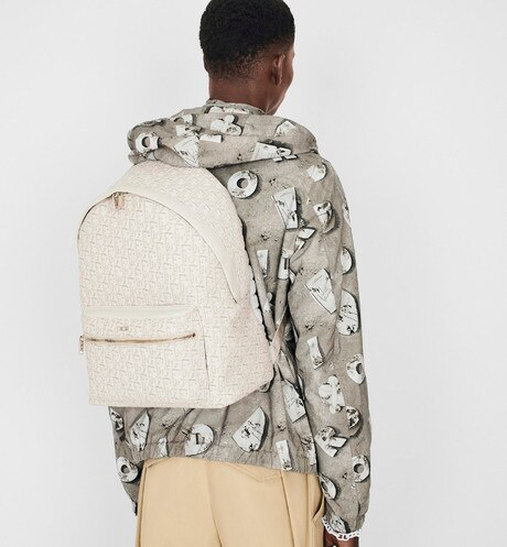 Beige Dior Oblique Jacquard Rider Backpack aria_wornViewCropped
