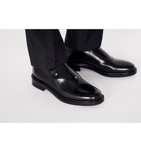 Saddle Monk Derby Shoe in Black Calfskin worn view cropped
