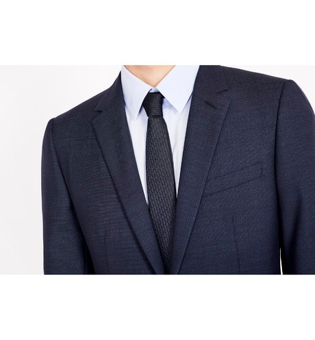 Dark Blue and Black Dior Oblique Narrow Jacquard Tie aria_wornViewCropped