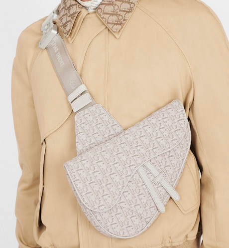 Beige Dior Oblique Jacquard Saddle Bag aria_wornViewCropped