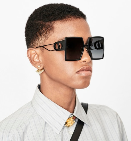 30Montaigne Black Square Sunglasses worn view cropped