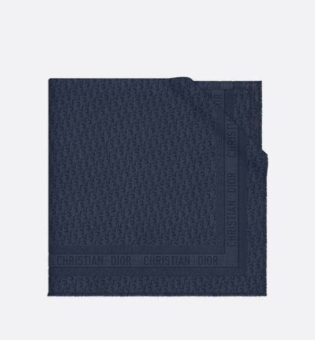 Navy Blue New Dior Oblique Wool-Blend Jacquard Shawl aria_wornViewCropped