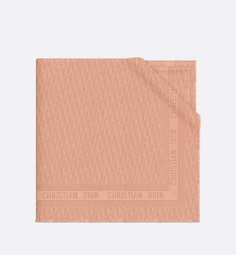 Pink Dior Oblique Wool-Blend Jacquard Shawl aria_wornViewCropped