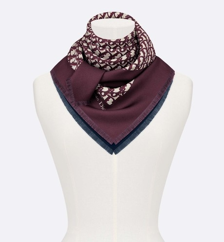Dior Oblique burgundy and navy blue square scarf aria_wornViewCropped