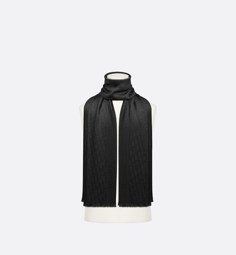 Black Dior Oblique Wool and Silk Stole aria_wornViewCropped