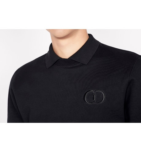 Black Cotton Piqué Polo Shirt with 'CD Icon' Logo worn view cropped