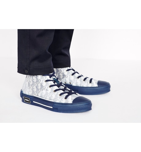 B23 High-Top Sneaker in Blue Dior Oblique worn view cropped
