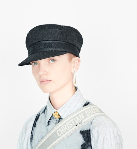 Black Dior Cotton Baker Boy Cap aria_wornViewCropped