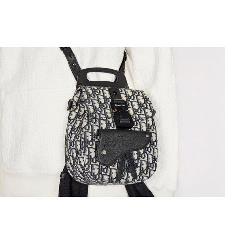 Navy Blue Dior Oblique Jacquard Mini Saddle Backpack aria_wornViewCropped