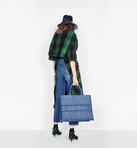Blue Dior Oblique Embroidered Denim Dior Book Tote aria_wornViewCropped