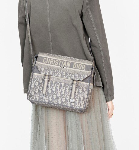 Gray Diorcamp Embroidered Messenger Bag with Dior Oblique Motif aria_wornViewCropped