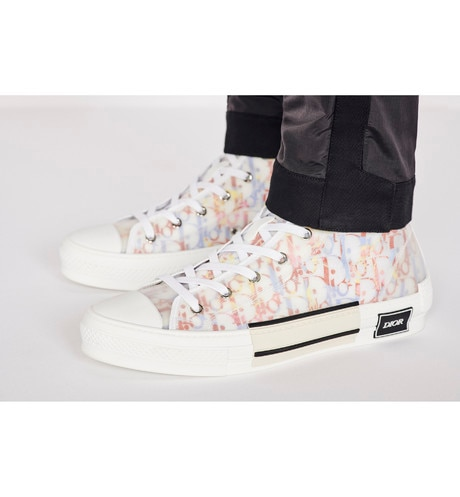 B23 High-Top Sneaker in Multicolor Dior Oblique worn view cropped