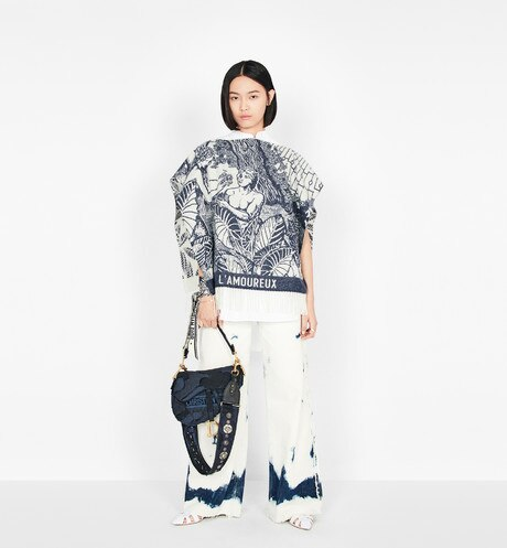 Blue Saddle Camouflage Embroidered Canvas Bag aria_wornViewCropped