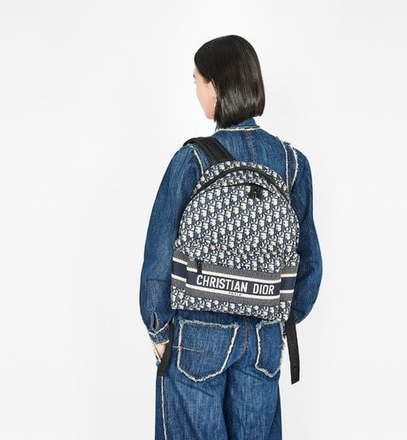Blue Diortravel Original Dior Oblique Technical Canvas Backpack aria_wornViewCropped