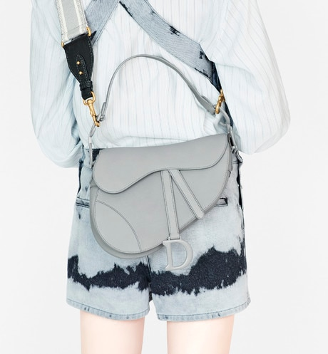 Gray Stone Saddle Matte Calfskin Bag aria_wornViewCropped