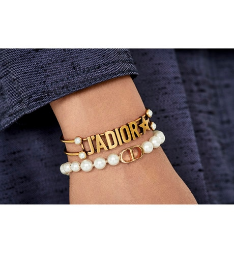 White Resin Bead 30 Montaigne Gold Finish Bracelet aria_wornViewCropped