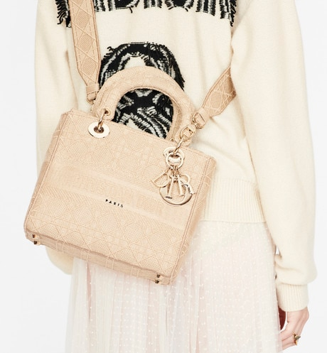 Medium Beige Lady D-Lite Embroidered Cannage Bag aria_wornViewCropped