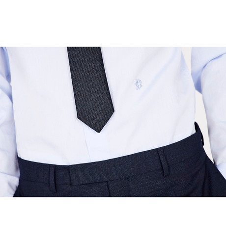 Dark Blue and Black Dior Oblique Narrow Jacquard Tie aria_wornView