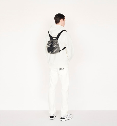Navy Blue Dior Oblique Jacquard Mini Saddle Backpack aria_wornView