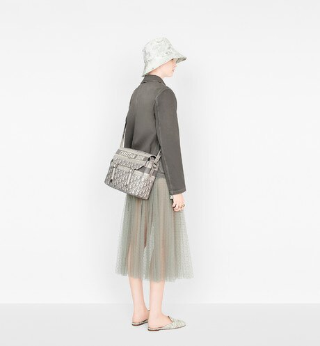 Gray Diorcamp Embroidered Messenger Bag with Dior Oblique Motif aria_wornView