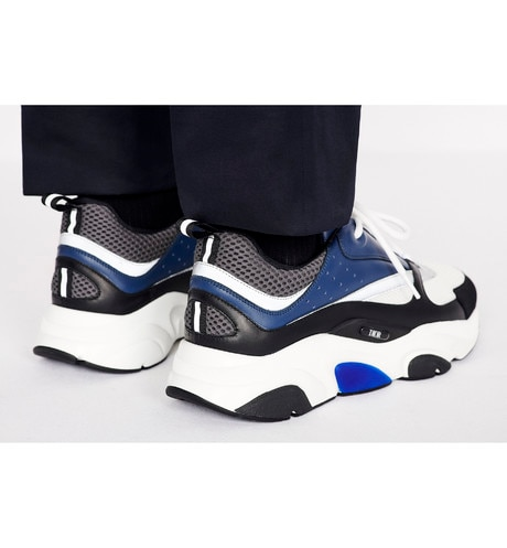 B22 Sneaker in White & Gray Technical Knit with Blue, Black & Gray Calfskin worn view