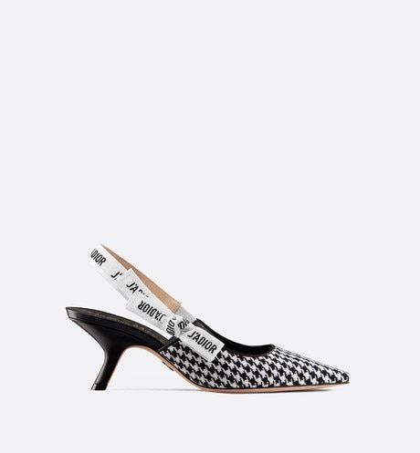 J'Adior wool houndstooth slingback pump profile view
