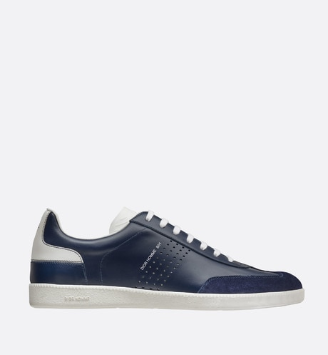Blue and white smooth calfskin and blue suede calfskin Sneaker, b01 signature profile view
